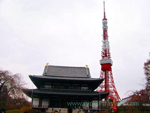 Worship hall and Tokyo tower, Zojoji temple (Shiba)