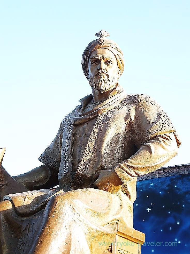 Closer view of Statue of Ulugh beg, Ulugh beg's observatory, Samarquand (Uzbekistan trip 2011)
