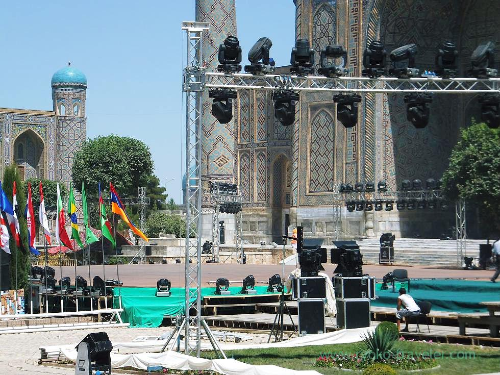 Preparing for music festival 1, Registan square, Samarquand (Uzbekistan trip 2011)