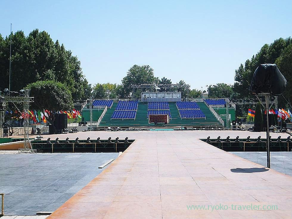Seats for music festival 1, Registan square, Samarquand (Uzbekistan trip 2011)