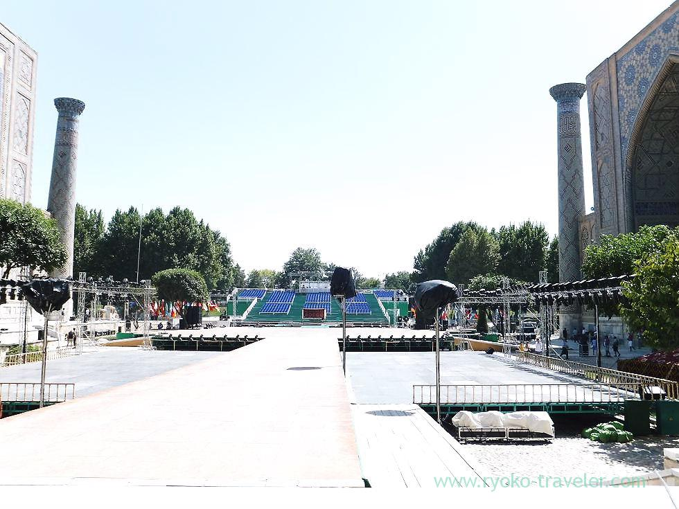 Seats for music festival 2, Registan square, Samarquand (Uzbekistan trip 2011)