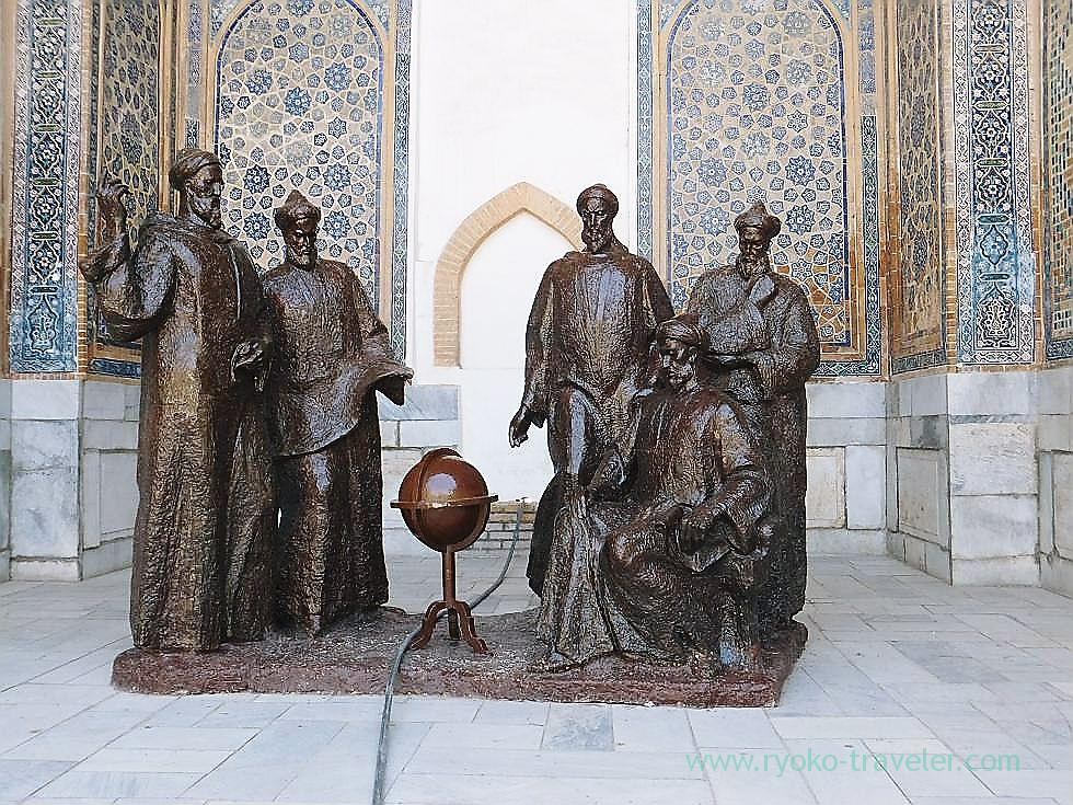 Statue of Ulugh Beg and his students, Registan square, Samarquand (Uzbekistan trip 2011)