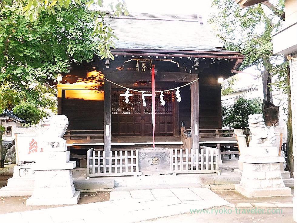 Worship hall and komainu, Kasuga Jinja shrine (Ichikawa)