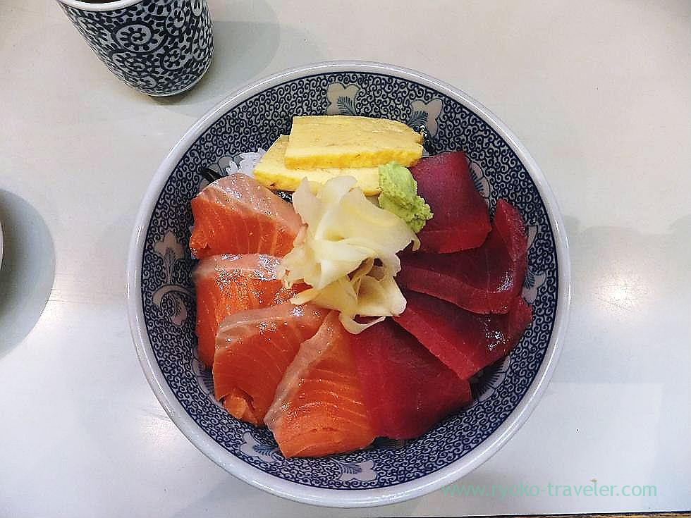 Tuna and salmon bowl, Taneichi (Tsukiji)