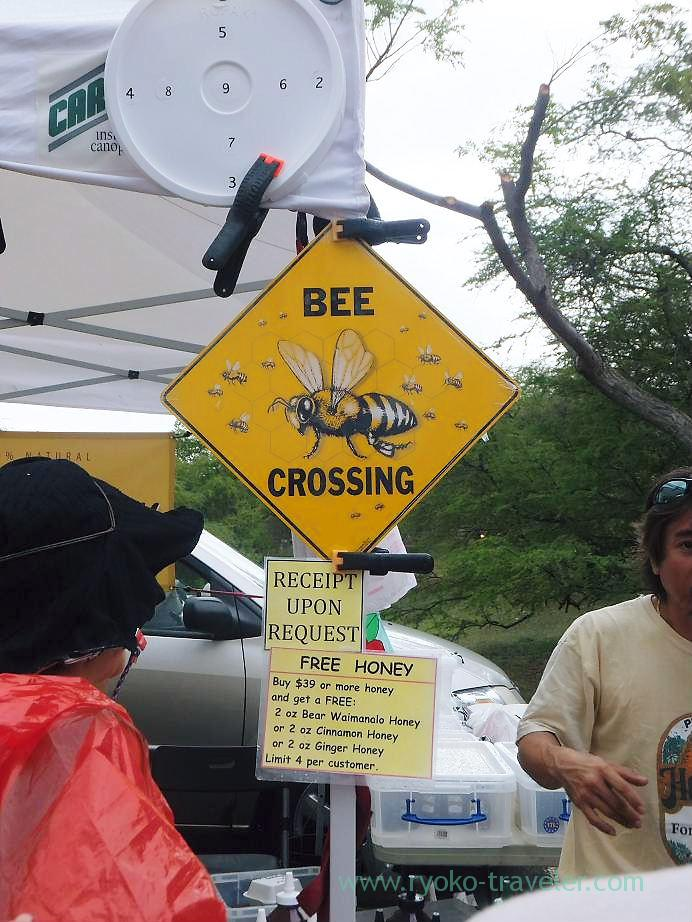 Signboard of honey shop, Kcc Farmers Market, Honolulu(Honolulu 2012 winter)