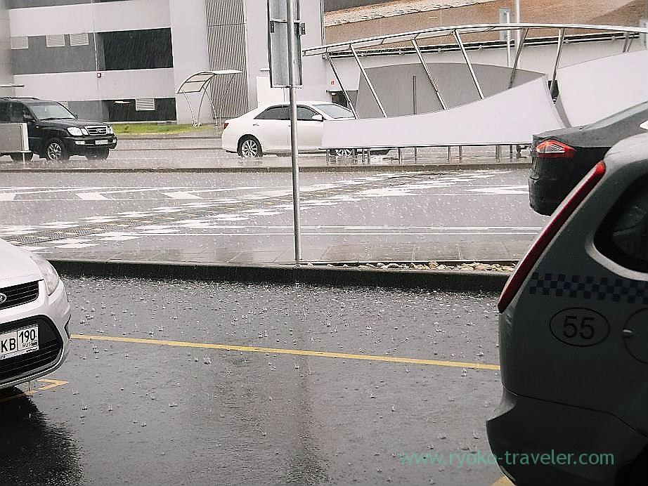 Heavy rainfall outside  Sheremetyevo International Airport, Moscow, (Russia 2012)