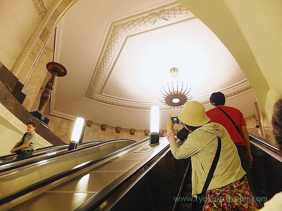 Escalator, Ploshchad Revolyutsii metro station, Moscow (Russia 2012)