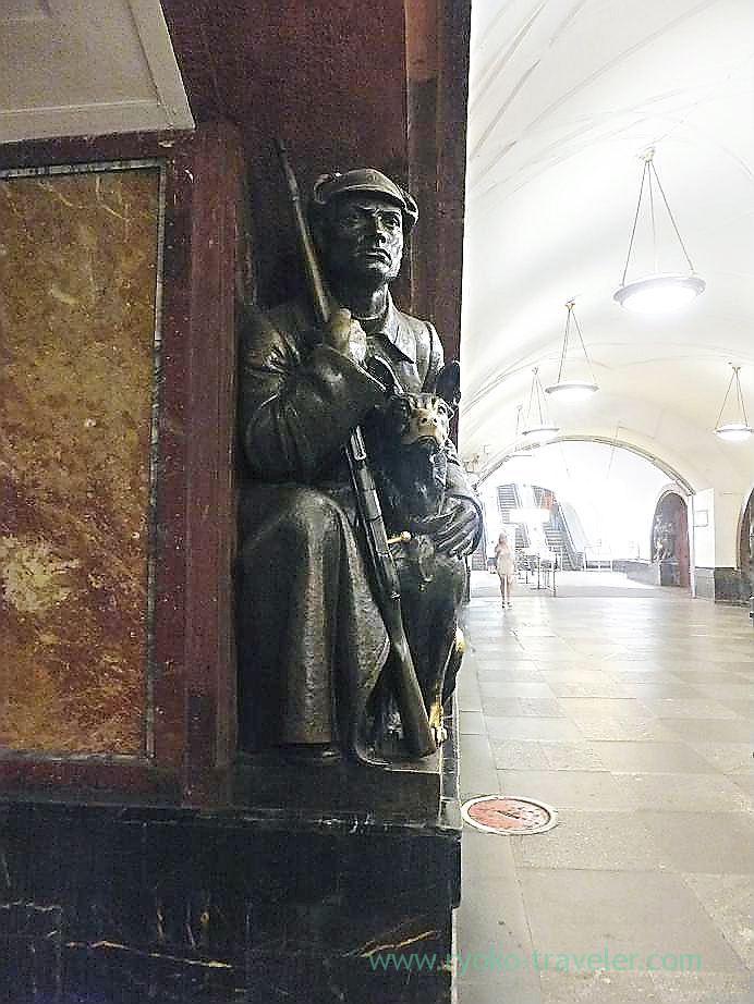 soldier statue, Ploshchad Revolyutsii metro station, Moscow (Russia 2012)
