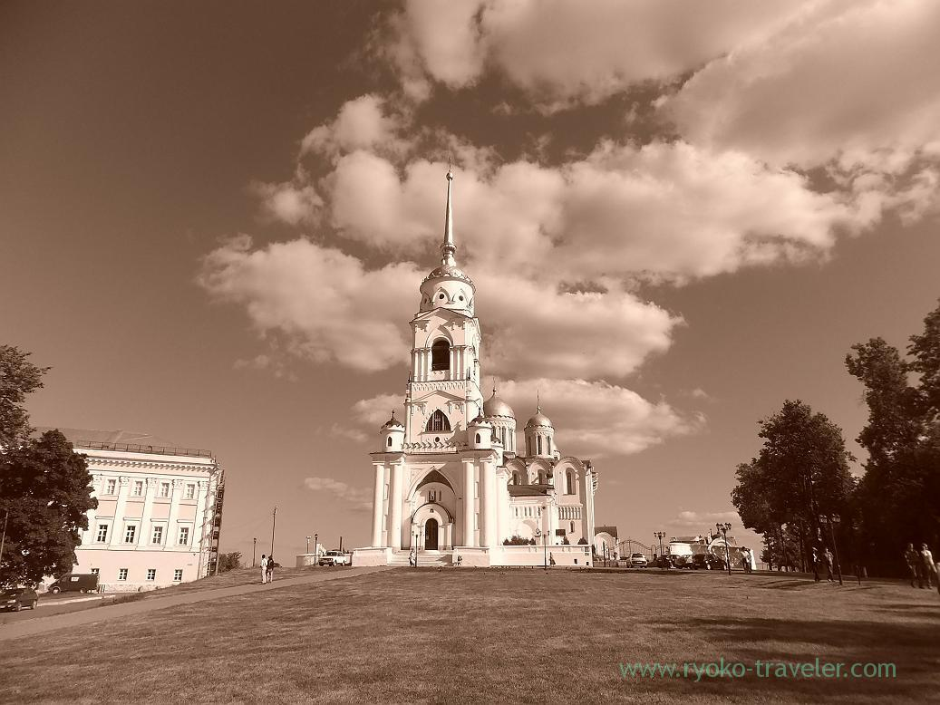 Whole view of Dormition Cathedral as sepia, Vladimir (Russia 2012)