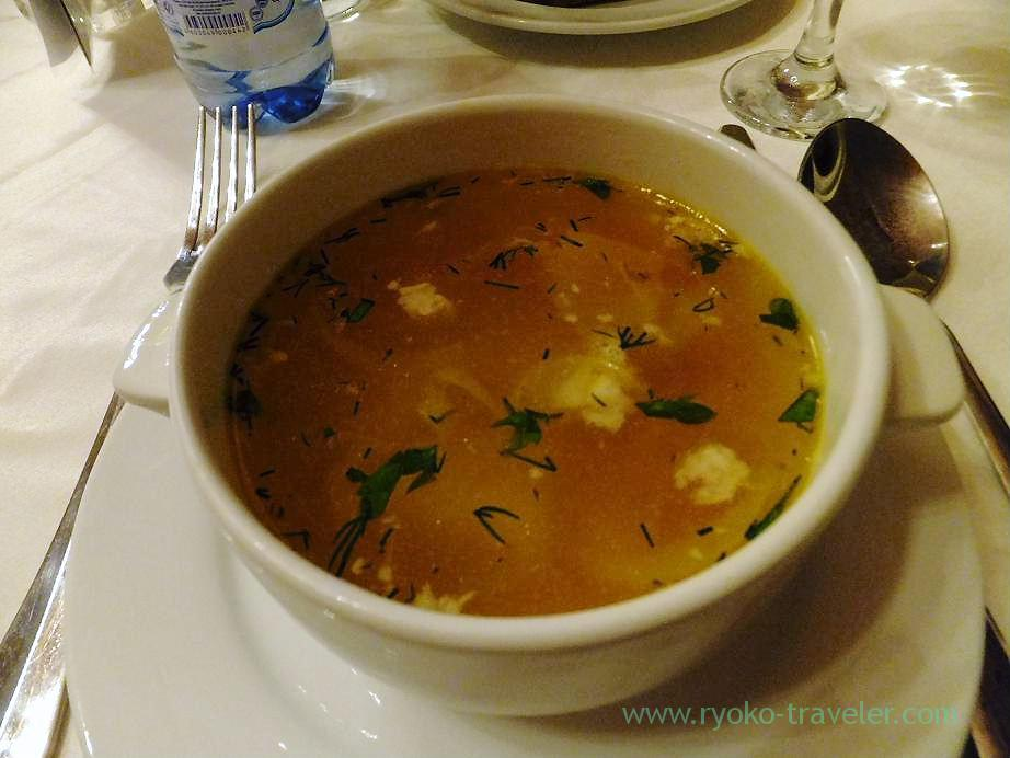 consomme soup, Lunchtime before long trip by bus, Moscow (Russia 2012)