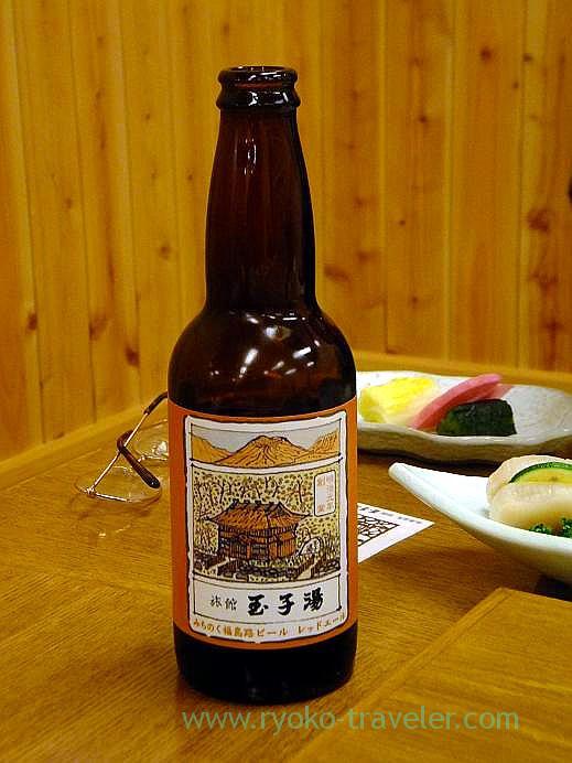 Fukushimaji beer at dinner, Takayu onsen (Tamagoyu 2013)