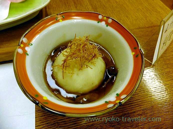 Jidori chicken Imo manjyu with matsutake thick sauce, Takayu onsen (Tamagoyu 2013)
