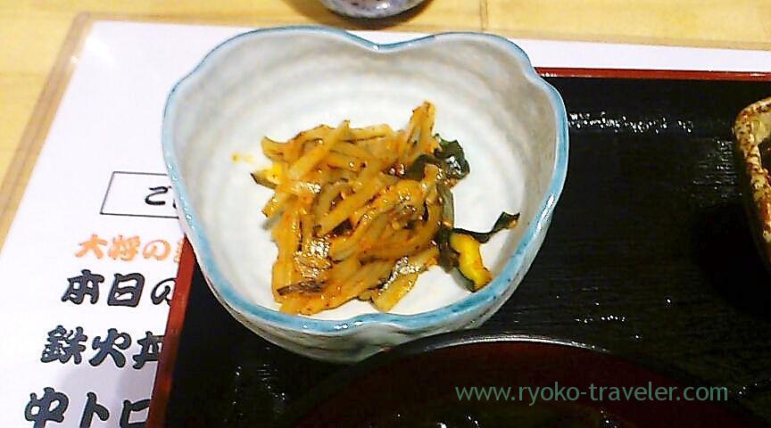 Tuna's skin with kimchi sauce, Maguro-ichi (Funabashi)