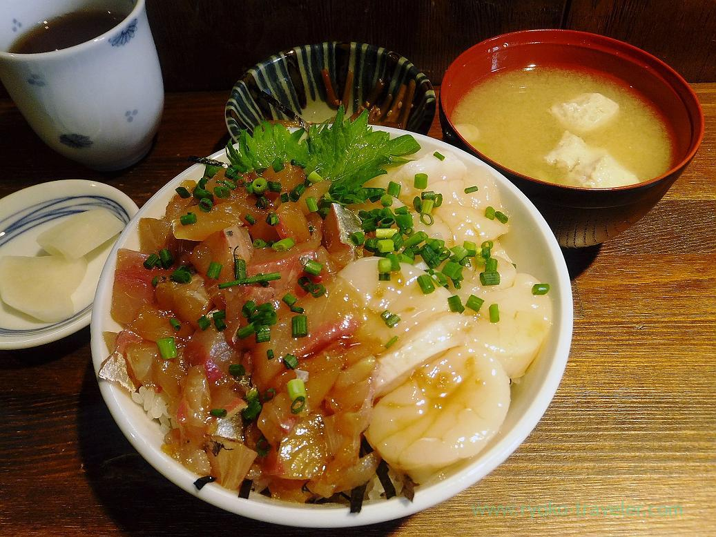 Pickled horse mackerel and scallop bowl, Hajime-Sengyoten
