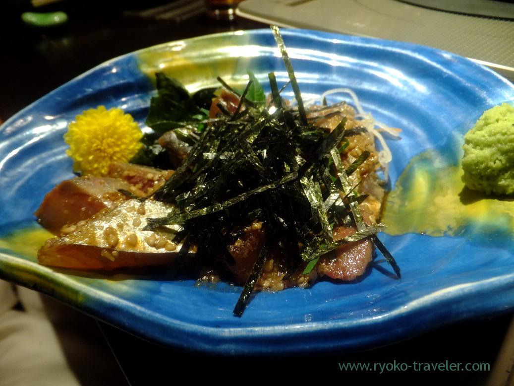 Horse mackerel dressed with sesami sauce, Yamasho Ningyocho branch (Ningyocho)