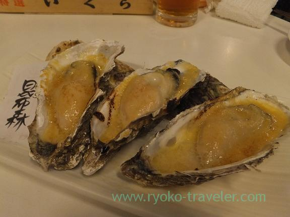 Grilled oyster from Konbumori with miso, Chika-no-iki (Tsukiji)