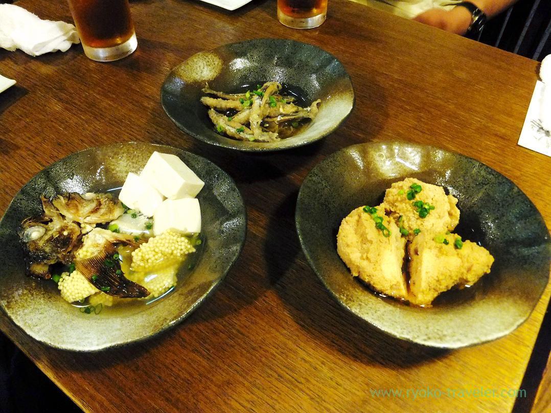 Boiled cod roe,silver-stripe round herring marinated in a spicy sauce, boiled sailfin sandfish, Kashigashira (Tsukiji)