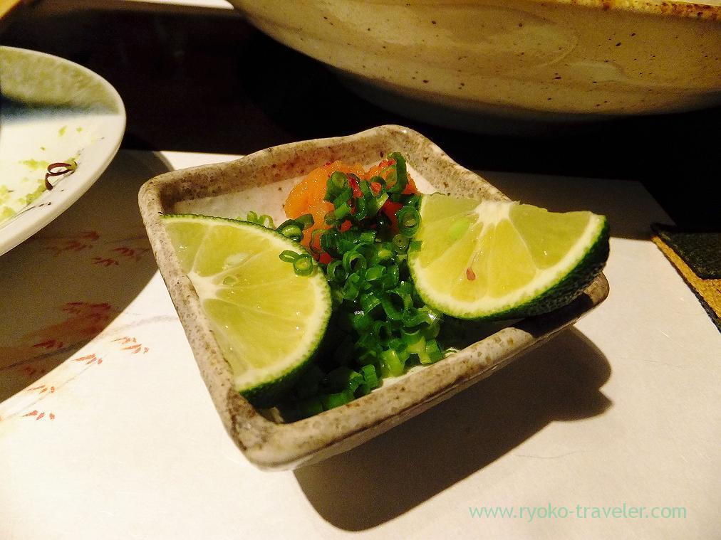 Condiments of channel rockfish hotpot, Fujimura (Tsukiji)