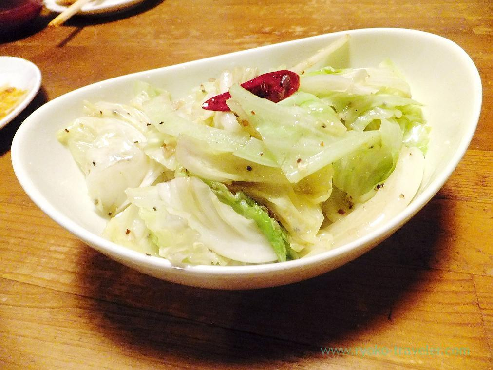 Sauted anchovy and cabbage, Hachijuro Shoten (Funabashi)