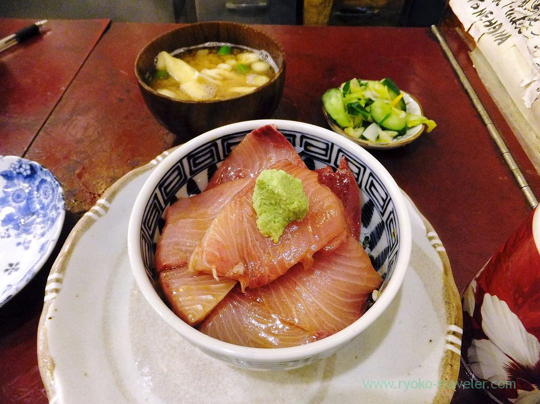 Cold yellowtail bowl set, Yonehana (Tsukiji Market)