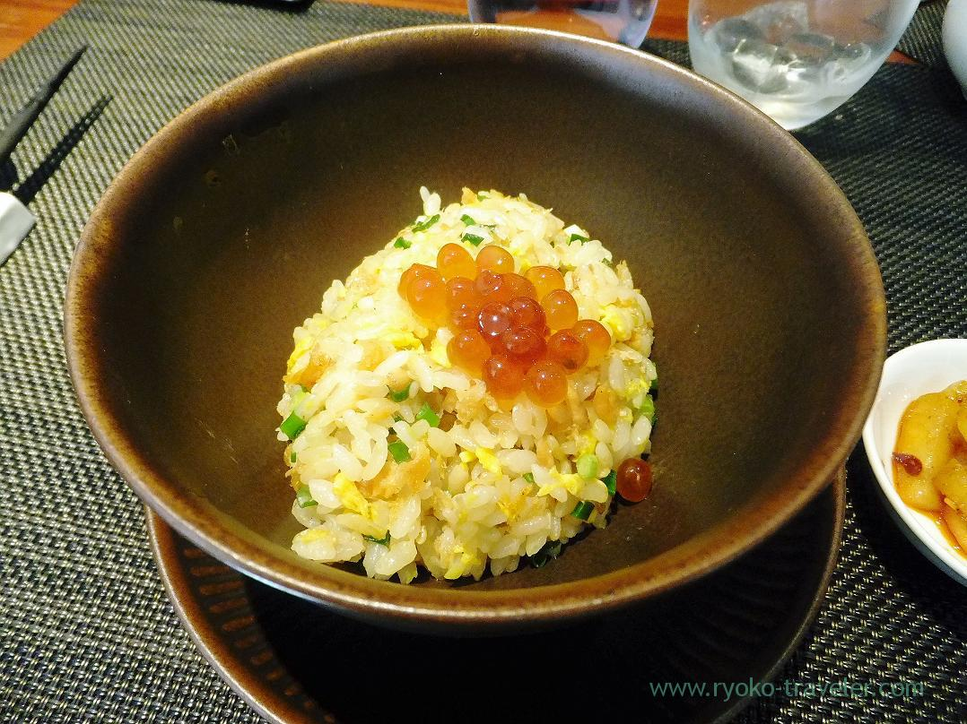 Fried rice with salmon and salmon roe, pu pu ru (Tsukiji)