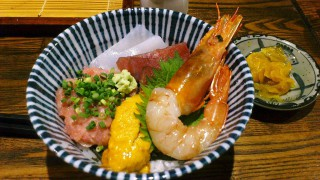 Kachidoki : Soba and sashimi bowl set at Ginsoba Kunisada (銀蕎麦 國定)