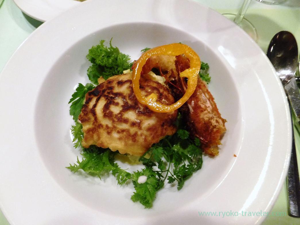 Soft roe and shrimp fritters2, Perci (Higashi-Ginza)