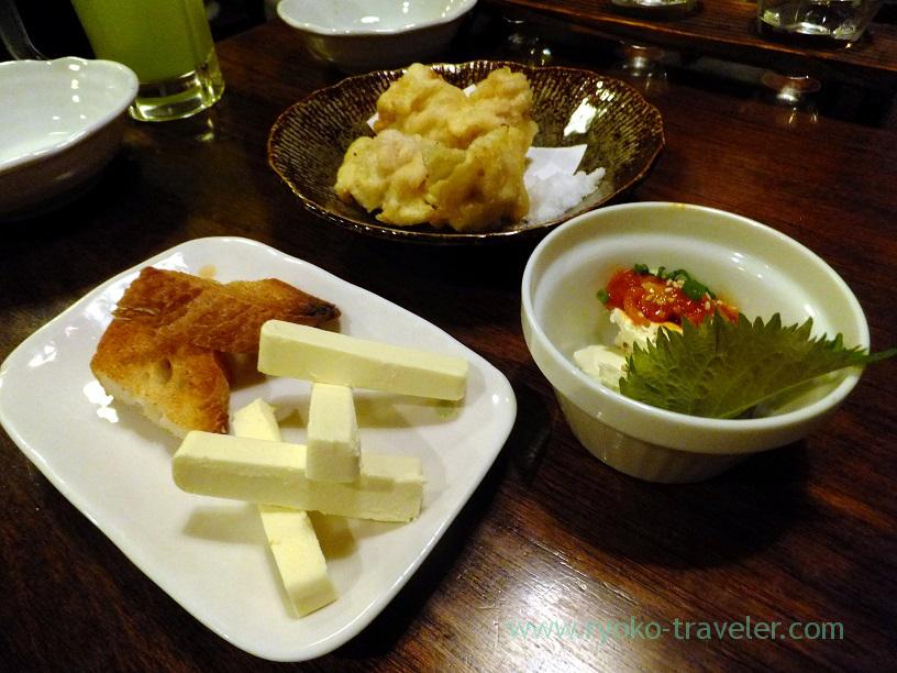 Grilled cream cheese with saikyo miso,broad bean with brown sugar and cream cheese with Pickled fish innard, Kingyoya (Funabashi)