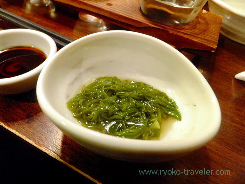 Mekabu seaweed as otoshi, Kingyoya (Funabashi)