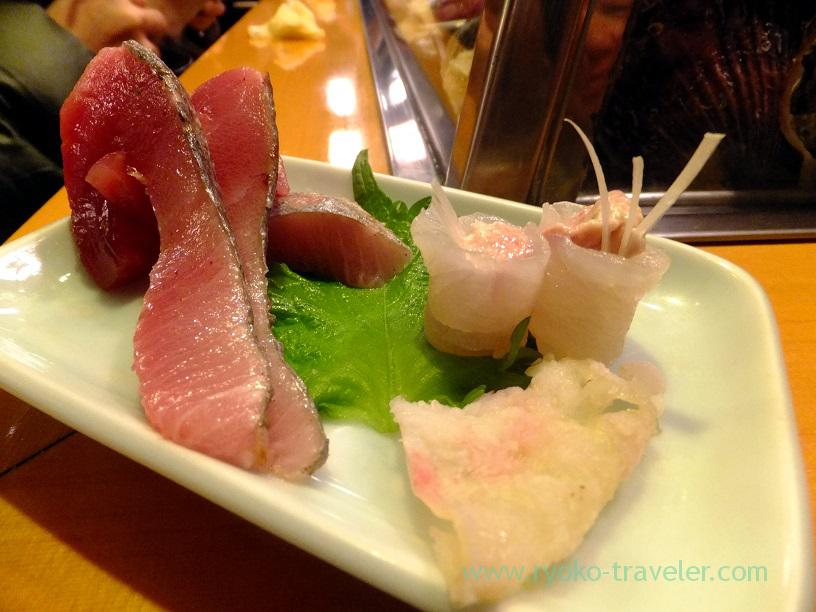 young tuna and filefish, Sushidai (Tsukiji)
