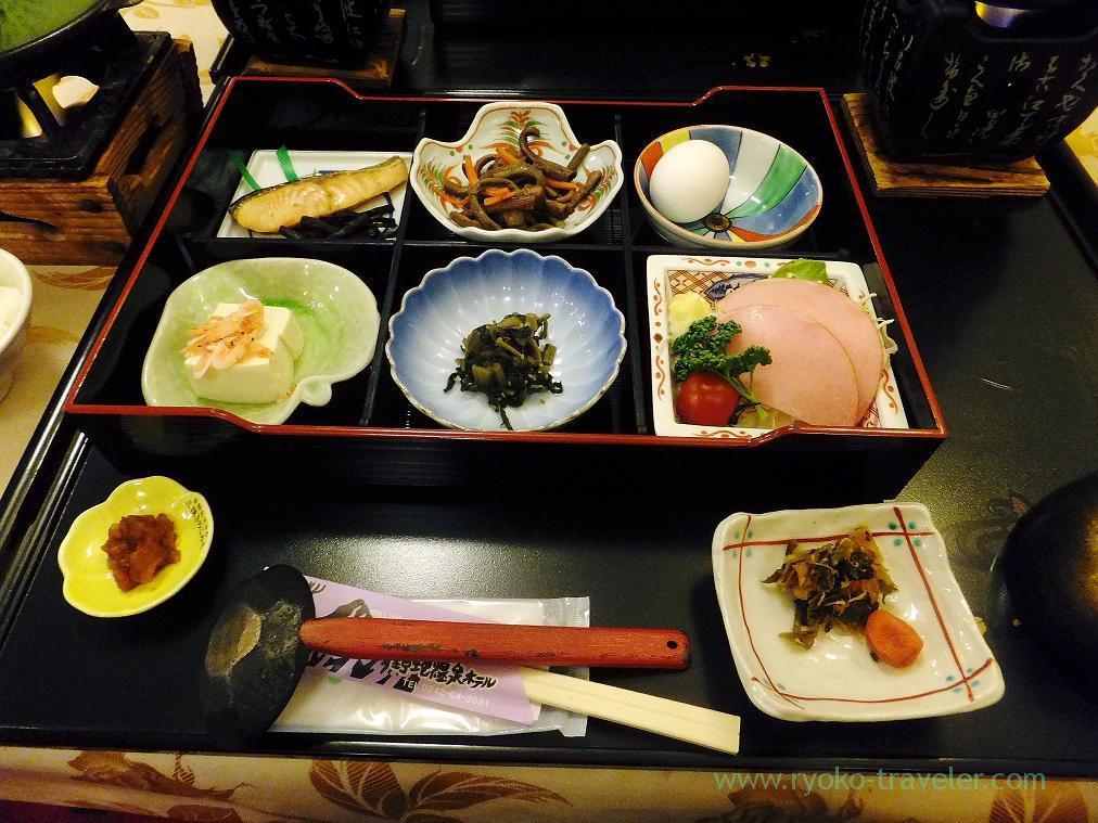 Breakfast, Nodi onsen hotel,trip to Nodi onsen 2014