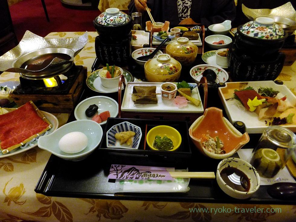 Our dinner, Nodi onsen hotel,trip to Nodi onsen 2014