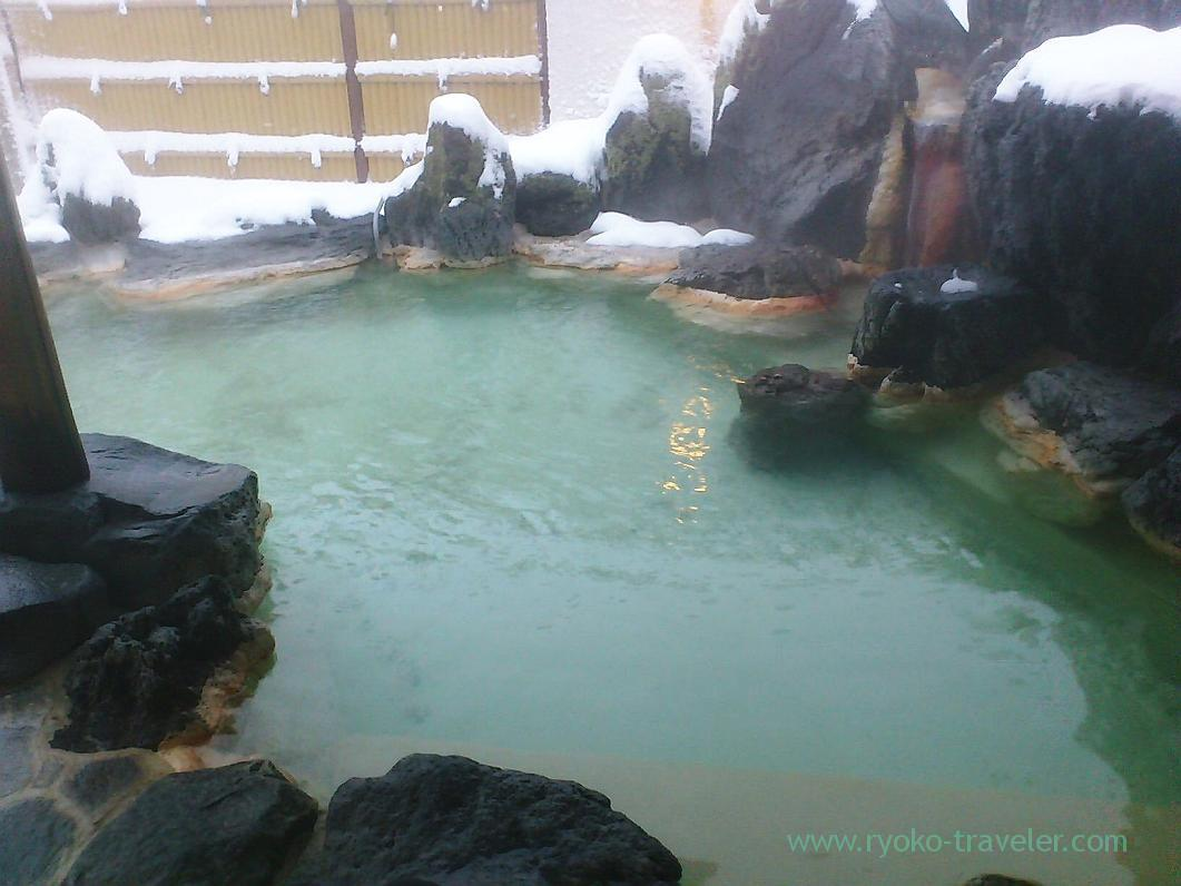Outdoor bath, Nodi onsen hotel,trip to Nodi onsen 2014