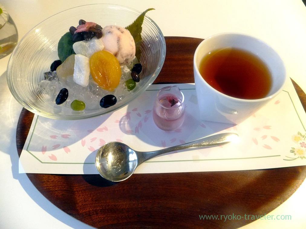Sakura Anmitsu set, Kanten Papa Cafe Hatsudai Branch (Hatsudai)