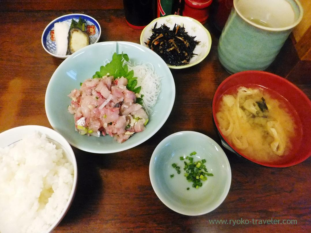 Horse mackerel tataki set, Kato (Tsukiji Market)