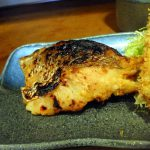 Kachidoki : Deep fried sardine and  and red sea bream saikyoyaki at Sayori (魚河岸さより)
