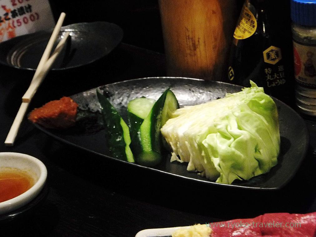 Raw cabbage and cucumber, Hyottoko (Ningyocho)