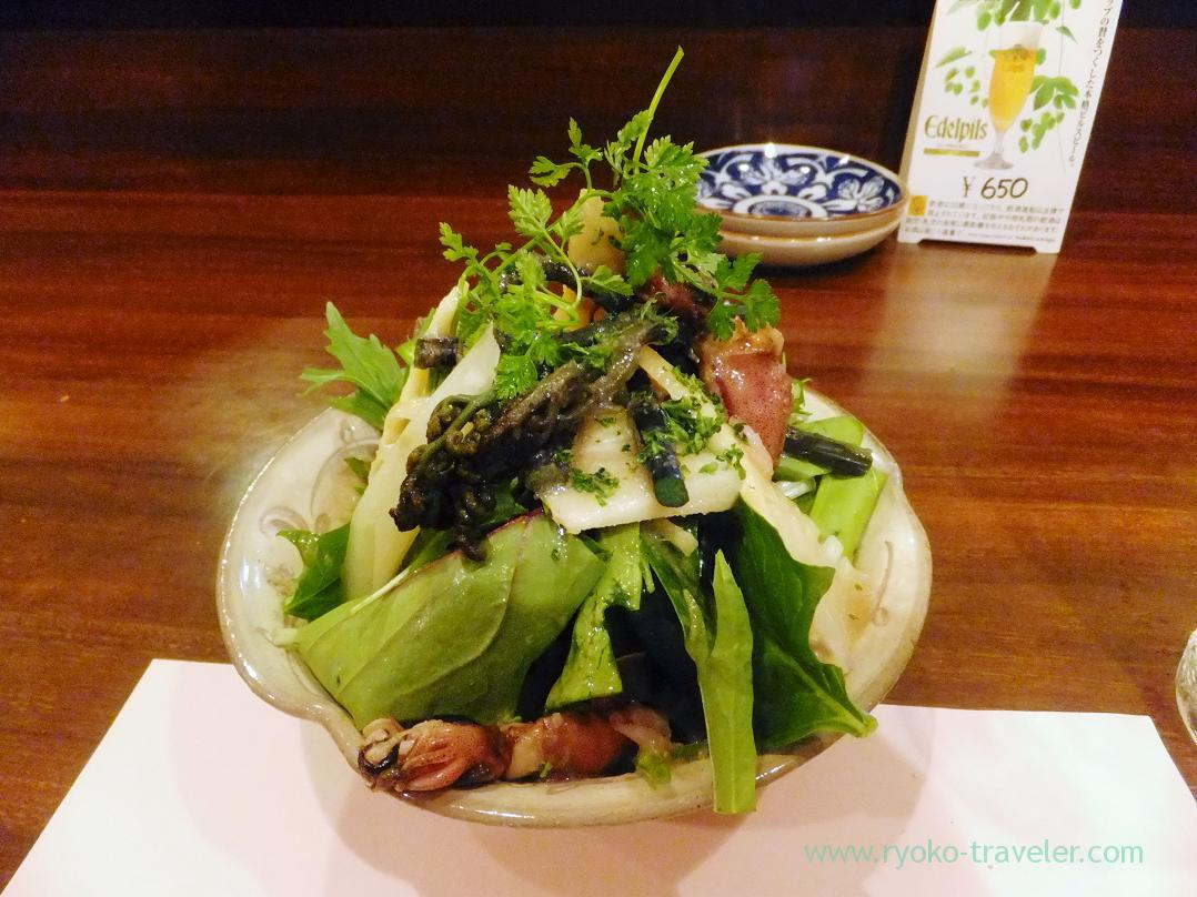 Salad with bamboo shoot from Wakayama, , natural bracken from Uchiko, firefly squid and organic vegetables, Begin (Osaka2014-1)