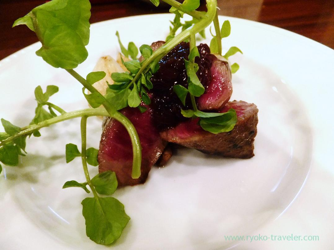 Yamagata beef steak with Bordelaise sauce, Begin (Osaka2014-1)
