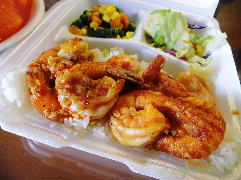 Garlic spicy shrimp for my early dinner, Sum's, Honolulu 2014