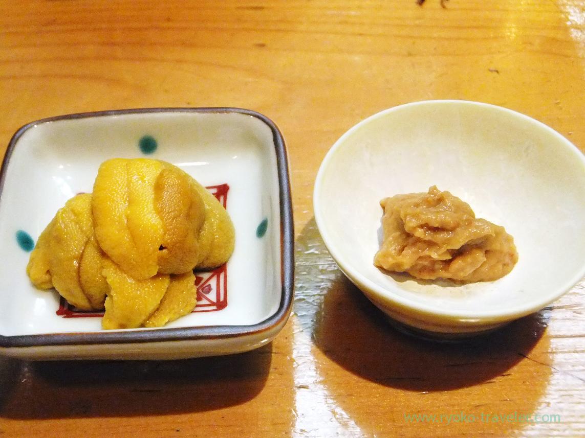 Pandalopsis's brown meat and Red sea urchin from Karatsu, Miyakozushi (Bakuro-Yokoyama)