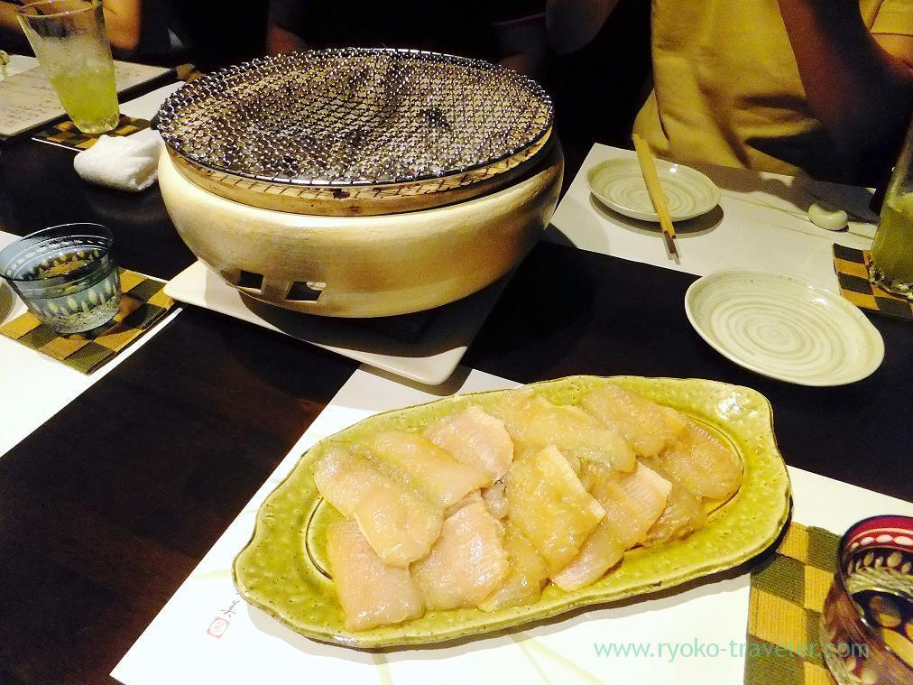 Burning tool and pike conger marinated with yuan miso, Fujimura (Tsukiji)
