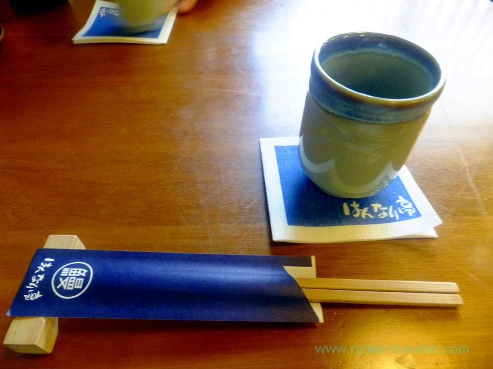 Green tea and chopsticks, Hannaritei (Higashi Funabashi)