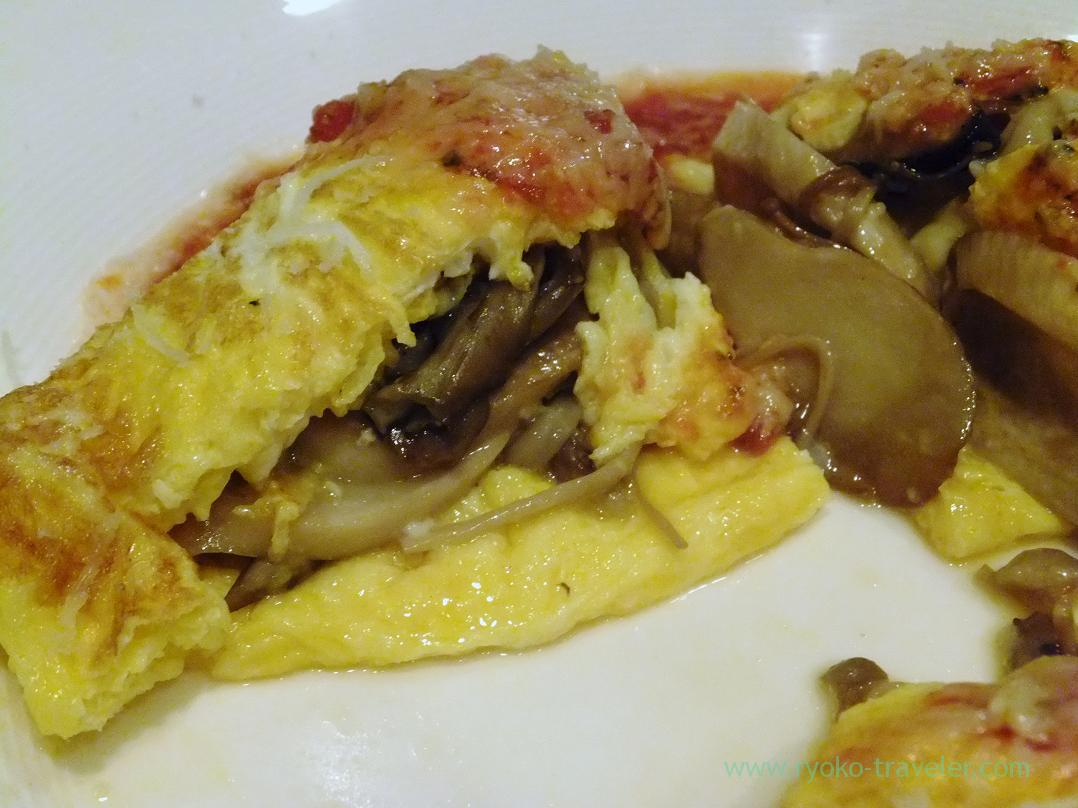 Section of omlet with mushrooms, Yamagishi Shokudou (Ginza)