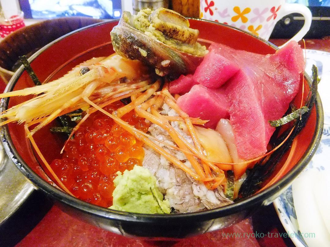 Cod roe side of Sashimi bowl, Yonehana (TSukiji Market)