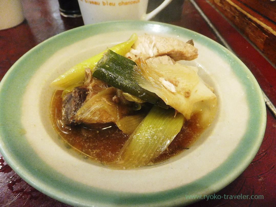 Simmered yellow tail and green onions, Yonehana (Tsukiji Market)