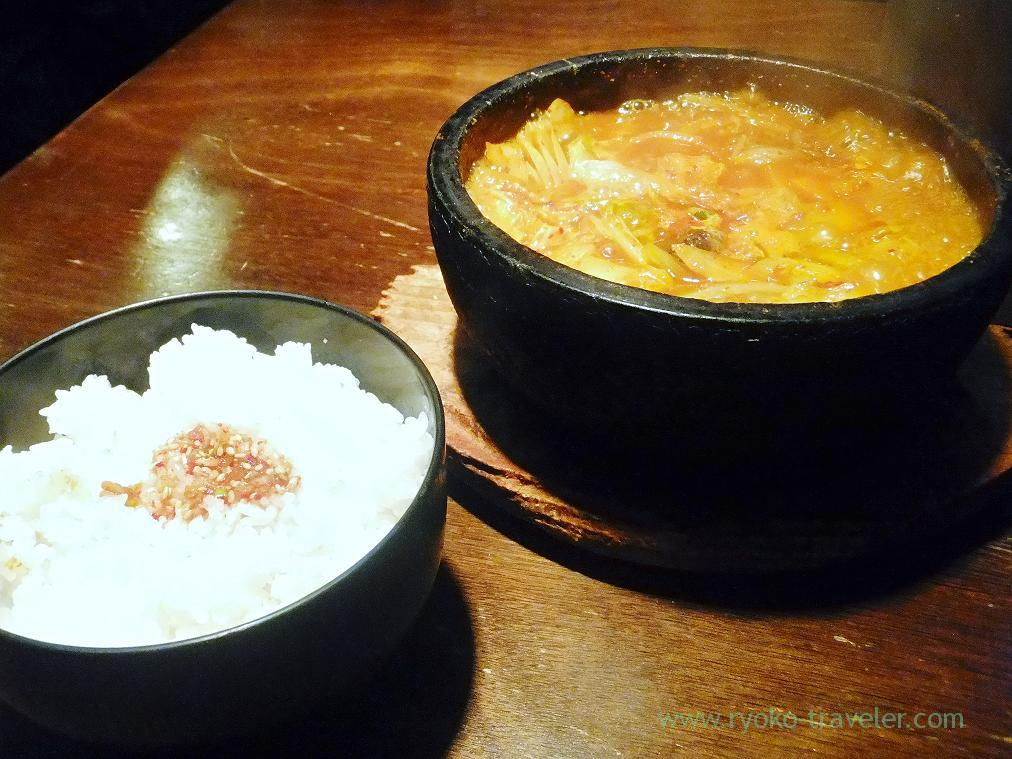 Jjigae and rice, Yakiniku Tougarashi (Tsukiji)