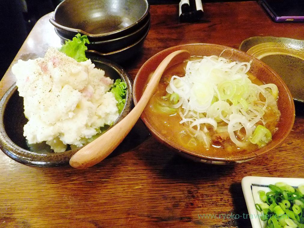 Simmered giblets and potato salads, Hyottoko (Ningyocho)