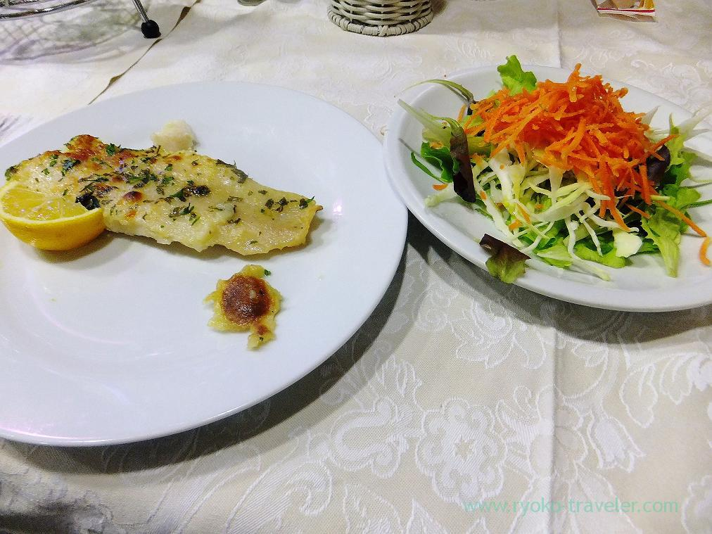 Salad and fried white meat fish, Dinner, Malcontenta (Trip to italy 2015)