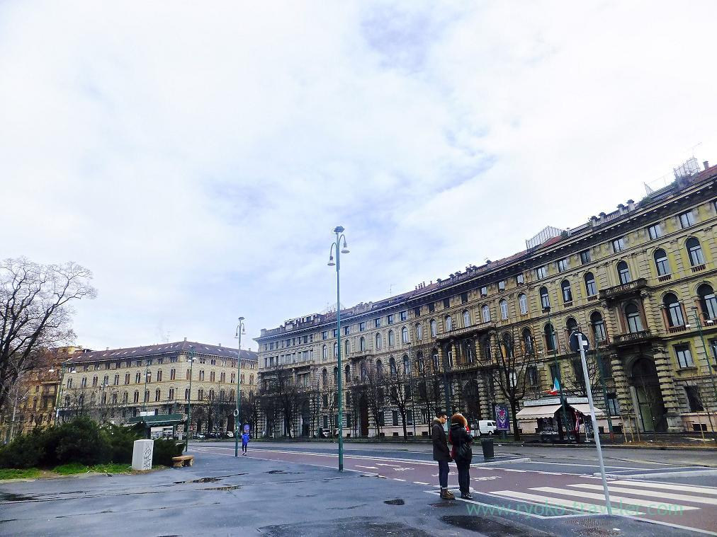 Street in front of the entrance, Castello Sforzesco, Milano (Trip to italy 2015)